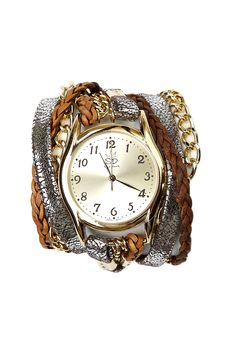 Silver Metallic Leather and Chain Wrap Watch by Sara Designs