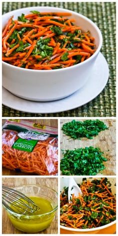 So many fun flavors in this Spicy Shredded Carrot Salad with Mint, Cilantro, Green Onion, Lime, and Jalapeno; perfect salad for a picnic where you don't want mayo! [from Kalyn's Kitchen] #SummerSalad #FreshHerbs #Vegan #GlutenFree