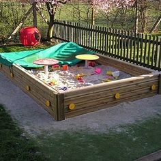 This sand box is a popular playground equipment with young children.