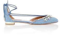 Aquazzura Jeweled Alexa Lace-Up Flats at Barneys New York