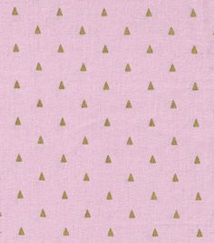 Keepsake Calico™ Cotton Fabric-Triangles On Pink With Gold Metallic  (reg $9.99)