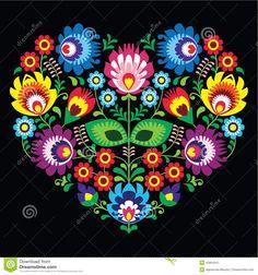Folk Embroidery Patterns Polish, Slavic folk art art heart with flowers on black - wzory lowickie, wycinanka photo - Hungarian Embroidery, Folk Embroidery, Learn Embroidery, Floral Embroidery, Embroidery Designs, Polish Embroidery, Folk Art Flowers, Flower Art, Arts And Crafts