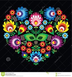 Polish, Slavic Folk Art Art Heart With Flowers On Black - Wzory Lowickie, Wycinanka - Download From Over 26 Million High Quality Stock Photos, Images, Vectors. Sign up for FREE today. Image: 42854541