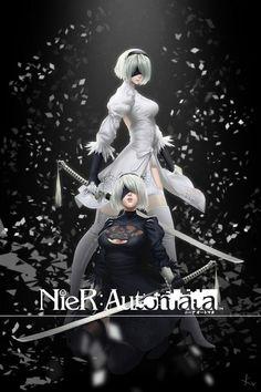 re 397440 cleavage dress heels kv-- nier_automata signed sword thighhighs Fantasy Characters, Anime Characters, Nier Automata A2, Character Art, Character Design, Animation, Video Game Art, Fantasy Girl, Manga Art