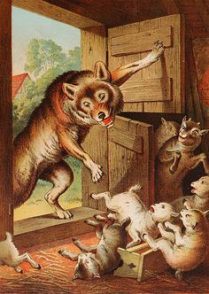 The Wolf and the seven young kids. Carl Offterdinger a German painter. I loved this book as a child. Fine Art Prints, Framed Prints, Canvas Prints, Illustrations, Illustration Art, Wolf Kids, Grimm Fairy Tales, Pinocchio, Art Reproductions