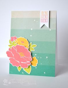 Lostinpaper - Avery Elle Petals & Stems - flower ombre Merci card