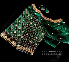 Beautiful Bottle green color bridal blouse with floral design hand embroidery work. 23 November 2018 Beautiful Bottle green color bridal blouse with floral design hand embroidery work. Cutwork Blouse Designs, Wedding Saree Blouse Designs, Pattu Saree Blouse Designs, Simple Blouse Designs, Stylish Blouse Design, Wedding Silk Saree, Dress Designs, Sleeve Designs, Saris