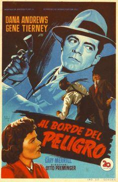 Where the Sidewalk Ends, 1950 - Al borde del peligro. Directed by Otto Preminger. Movie poster.
