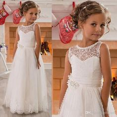 2016 Cheap Flower Girls Dresses For Weddings Jewel Neck Illusion Lace Appliques Sashes Tulle Party Princess Long Children Girl Pageant Gowns Couture Flower Girl Dresses Designer Outfits From Yes_mrs, $82.42  Dhgate.Com