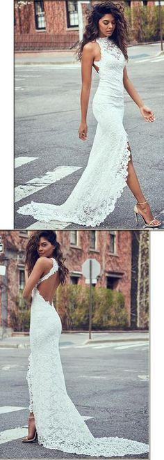 Charming Lace Halter Neckline Sheath Wedding Dresses With Slit