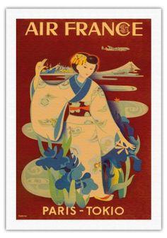 Paris-Tokyo - Air France - Geisha Japonaise Dans Le Kimono - Vintage Airline Travel Poster by Yasse Tabuchi c.1952 - Beaux-Arts Imprime Fine Art Print - 69cm x 102cm toile roulee Pacifica Island Art http://www.amazon.fr/dp/B00IETMV7E/ref=cm_sw_r_pi_dp_3M-fwb06QS1J7