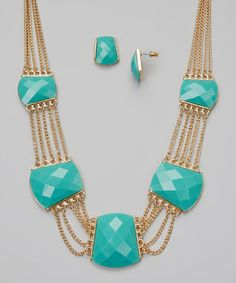 This Turquoise & Gold Necklace & Stud Earrings by Fantasy World Jewelry is perfect! #zulilyfinds