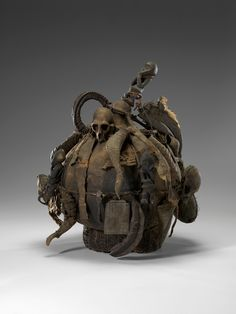 Africa | Healer or Diviner's Calabash.  Mambila culture   (Nigeria, Cameroon).  ca. 19th to early 20th century | Calabash, wickerwork, wood, shell, horn, bone, other natural materials