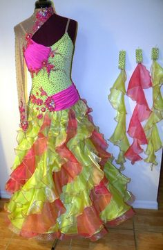interesting (but God, the colors. Ballroom Dress, Movie Props, Dance Costumes, Dance Wear, Beautiful Dresses, Royalty, Fashion Dresses, Prom, Couture