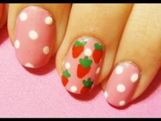 Strawberry Shortcake Inspired Nail Art, via YouTube.