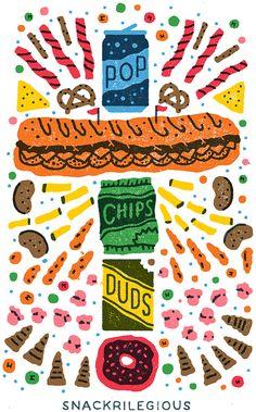 Junk food illustration. Yum! For more creative inspiration, visit www.designisyay.com