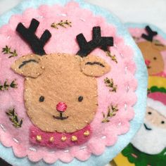 Rudolph Felt Ornament: Hand-sewn Reindeer by colorandwhimsy