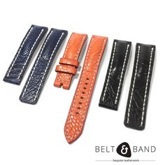 I've got a very excited client waiting for his Ostrich Shin Straps. These will be fitted onto his Breitlings. Colours: Navy Orange and Black. Tag Heuer Monaco, Tag Heuer Professional, Breitling Superocean, Leather Working, Handmade Art, Hand Stitching, Black Leather, Belt, My Favorite Things