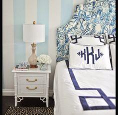 girls bedding, stripes, monogram, preppy, headboard, blues
