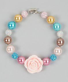 Another great find on #zulily! Bronze & Pink Rose Bead Necklace by Zuzu Petals #zulilyfinds