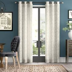 Greyleigh Dendron Damask Sheer Grommet Curtain Panels Size per Panel: W x L, Curtain Color: Caribou Patio Curtains, Grommet Curtains, Curtain Panels, Elegant Curtains, Colorful Curtains, Blackout Panels, Blackout Curtains, Striped Room, Rod Pocket Curtains