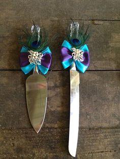 Peacock Wedding Cake Knife Set | eBay