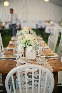 Lace Table Runner. Rustic Chic Country Outdoor Wedding. OMG must have... well i like the set up and the table, i just like round tables for weddings though.