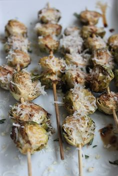 Heres a fun way to eat Brussel Sprouts: Roasted Balsamic & Parmesan kabobs