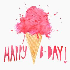 Margaret Berg Art: Birthday Ice Cream Greeting Card