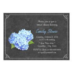 Simple Chalkboard Blue Hydrangea Bridal Shower Personalized Invite