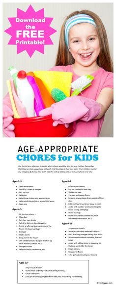 Age-Appropriate Chores for Kids with FREE Printable - Get your kids involved in helping around the house - they can do more than you may think! Oh dear, we are still on age Gentle Parenting, Parenting Advice, Kids And Parenting, Foster Parenting, Parenting Websites, Mindful Parenting, Peaceful Parenting, Parenting Classes, Age Appropriate Chores For Kids