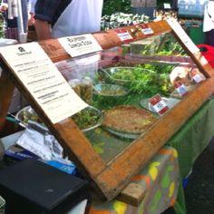 farmers markets display ideas | Re-use door for display @ Portland OR farmers market.