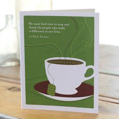 """Celebrate the most important people in your life with the bestselling Positively Green line of cards, which feature beautiful illustrations, thoughtful quotations, and a helpful green tip—plus a portion of your purchase goes directly to organizations that protect the environment.     *5.38""""H x 4.5""""W   *Plain white envelope  *Printed with soy ink on FSC®-certified 100% recycled stock."""