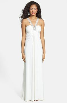 Hailey Logan Embellished Strap Chiffon Gown (Juniors) (Online Only) available at #Nordstrom