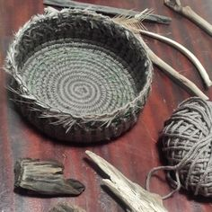 Basket finished off with emu feathers <3 thewovendream.com workshops