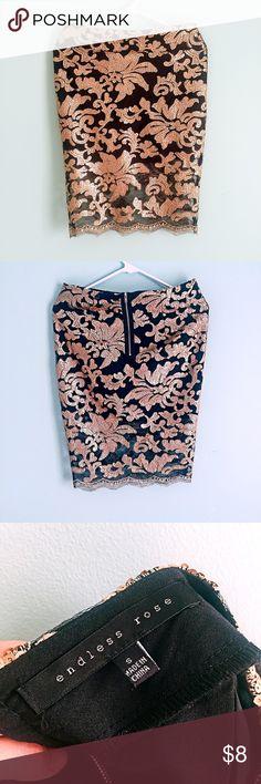 Akira Skirt #feminine #floral #golden #black #midi #skirt #Akira #  Chicago #local #fall #summer #tone #sequins #matte-finish #lace #chic AKIRA Skirts Midi
