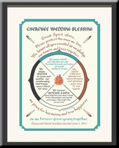 Cherokee Wedding Blessing Personalized for newlyweds, framed, Native American, hand-lettered print, great anniversary gift Cherokee History, Native American Cherokee, Cherokee Nation, Native American History, American Indians, Cherokee Symbols, Cherokee Indians, American Symbols, Cherokee Food