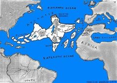 The Lost Civilization of Atlantis - note large lake in N Africa Ancient Aliens, Ancient History, Atlantis, Terre Plate, Sumerian, Fantasy Map, Ancient Mysteries, Lost City, Past Life