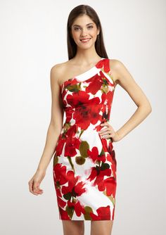 EVAN PICONE              Sweet Pansy Print One-Shoulder Dress