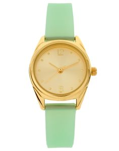 Mint green & gold jelly watch $32.00
