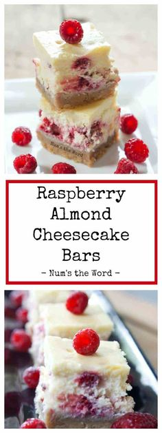 These Raspberry Almond Cheesecake Bars are the perfect party appetizer for Christmas, Baby Showers, Bridal Showers or a wedding. A favorite treat of ours! #dessert #dessertbars #cheesecake #cheesecakebites #partyfood #appetizer #babyshower #bridalshower #wedding #easycheesecake #raspberry #almond #numstheword #recipe