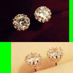 Crown Trimmed Diamond Stone Earrings | LilyFair Jewelry