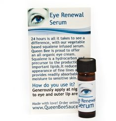 24 Hour Organic Eye Renewal Serum Noticeable Reduces Fine Lines Right Away by Queen Bee Skin Care. $20.17. The combination of evening primrose, organic skin drops and jojoba are very rich in fatty acids (also known as gamma-linolenic acid. This reduces the appearance of fine lines very quickly.. You will wake superhydrated and refreshed.  Lightly scented with lavender and ylang ylang.. Most customers see an improvement in 24 hours. Use at night with just a quick...