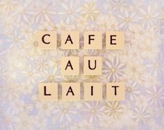 Pastel Retro Kitchen Decor Kitchen Wall Art Lilac Print Cafe Au Lait