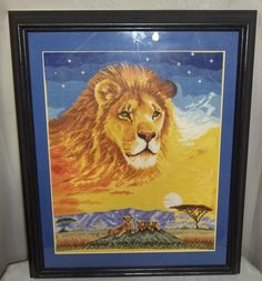 COMPLETED FINISHED CROSS STITCH Born Free Foundation Astral Lion Framed 18 Count