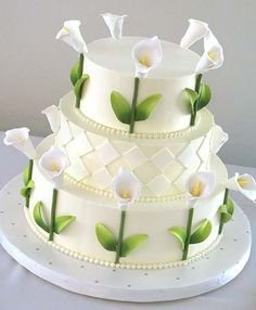 Beautiful Cake Pictures: Pretty Picture of White Cake with Calla Lillies - Flower Cake, Wedding Cakes, White Cakes - Gorgeous Cakes, Pretty Cakes, Cute Cakes, Amazing Cakes, Calla Lillies Wedding, Calla Lilies, Lys Calla, Calla Lily Cake, Beautiful Cake Pictures