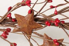 57 Inch Long Hand Wrapped Red Pip Berry Garland with Rusty Stars for Decorating Year Round >>> Read more reviews of the product by visiting the link on the image.