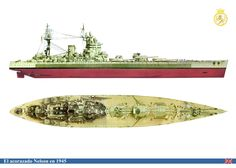 The Battleship HMS Nelson ~ Side and Top views in colour.