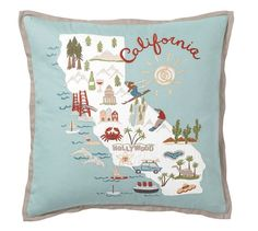 California Embroidered Pillow Cover | Pottery Barn