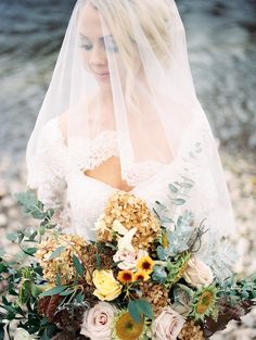 Delicate Lace Veil. Low back lace wedding dress. Fall Styled Photo Shoot http://boiseweddinggowns.com/